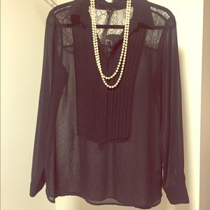 BLACK by Saks Fifth Avenue Pleated & Lace Blouse